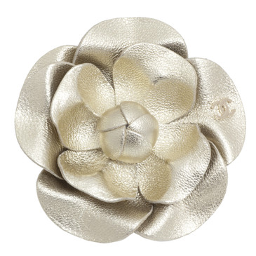 Chanel Metallic Gold Lambskin Camellia Brooch