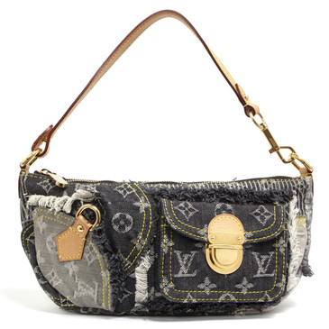 Louis Vuitton Grey Monogram Denim Patchwork Pouchy Bag
