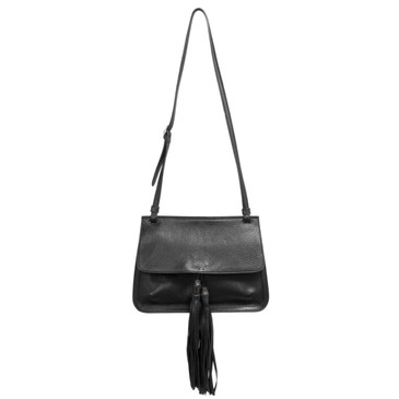 Gucci Black Pebbled Calfskin Medium Bamboo Daily Shoulder Bag