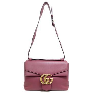Gucci Rose Calfskin GG Marmont Shoulder Bag
