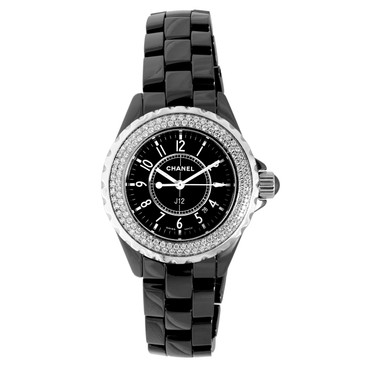 Chanel Black Ceramic & Diamond 33mm J12 Quartz Watch H0949