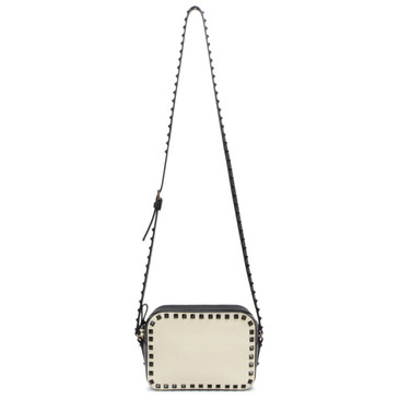 Valentino Black/White Smooth Calfskin Rockstud Camera Crossbody Bag