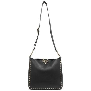 Valentino Black Pebbled Calfskin Rockstud Small Utilitarian Messenger Bag