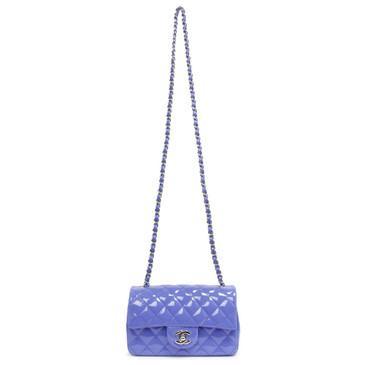Chanel Blue Quilted Patent Mini Rectangular Flap