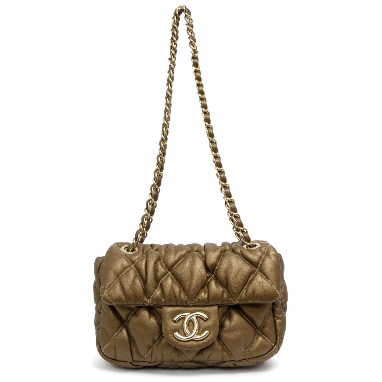 0c2482a73486 Chanel Metallic Bronze Bubble Quilted Flap - modaselle