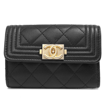 Chanel Black Calfskin Boy Four Ring Key Holder