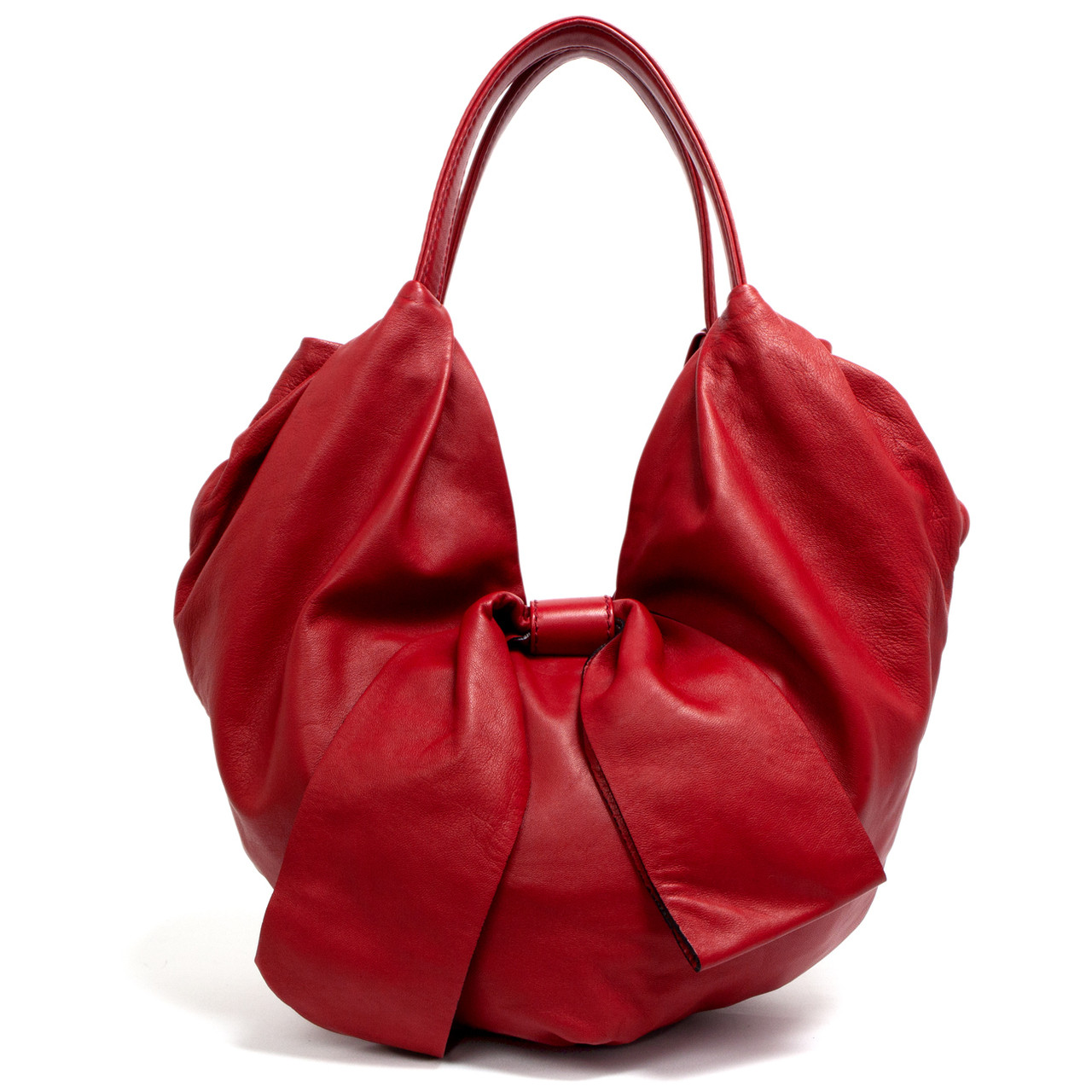 4b9e53f3826a Valentino Red Nappa Leather 360 Bow Hobo - modaselle