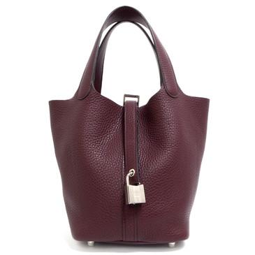 Hermes Burgundy Clemence Picotin Lock 18 Bag