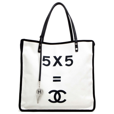 Chanel White & Black Canvas Let's Demonstrate Tote