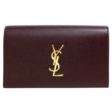 Saint Laurent Burgundy Grain De Poudre Classic Monogram Kate Clutch
