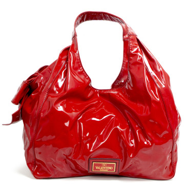 Valentino Red Patent Lacca Large Nuage Bow Hobo