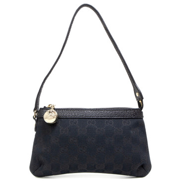 Gucci Black GG Monogram Canvas Charm Pochette