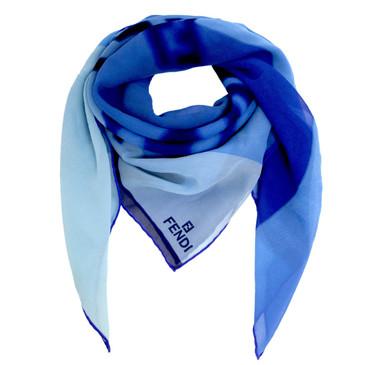Fendi Blue Silk Scarf
