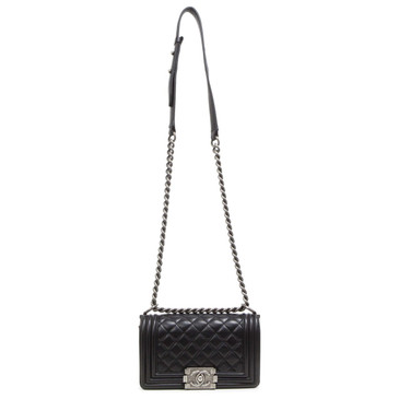 Chanel Black Lambskin  Small Boy Bag