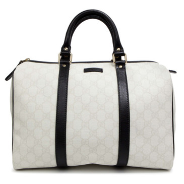 Gucci White and Black GG Canvas Medium Joy Boston Bag