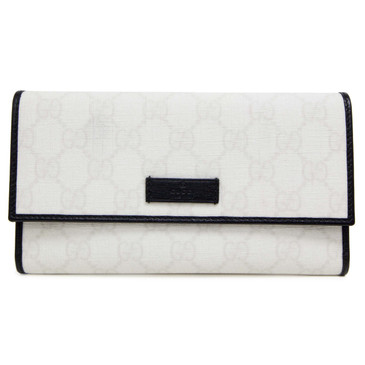 Gucci White and Black GG Canvas Continental Flap Wallet