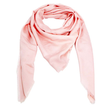 Cartier Pink Silk/Wool Monogram Scarf
