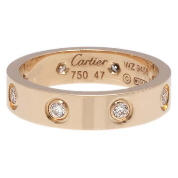 Cartier 18K Pink Gold & 8 Diamond Love Wedding Band  Ring