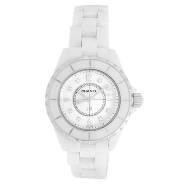 Chanel J12 White Ceramic 33mm Diamond Dial Quartz Watch
