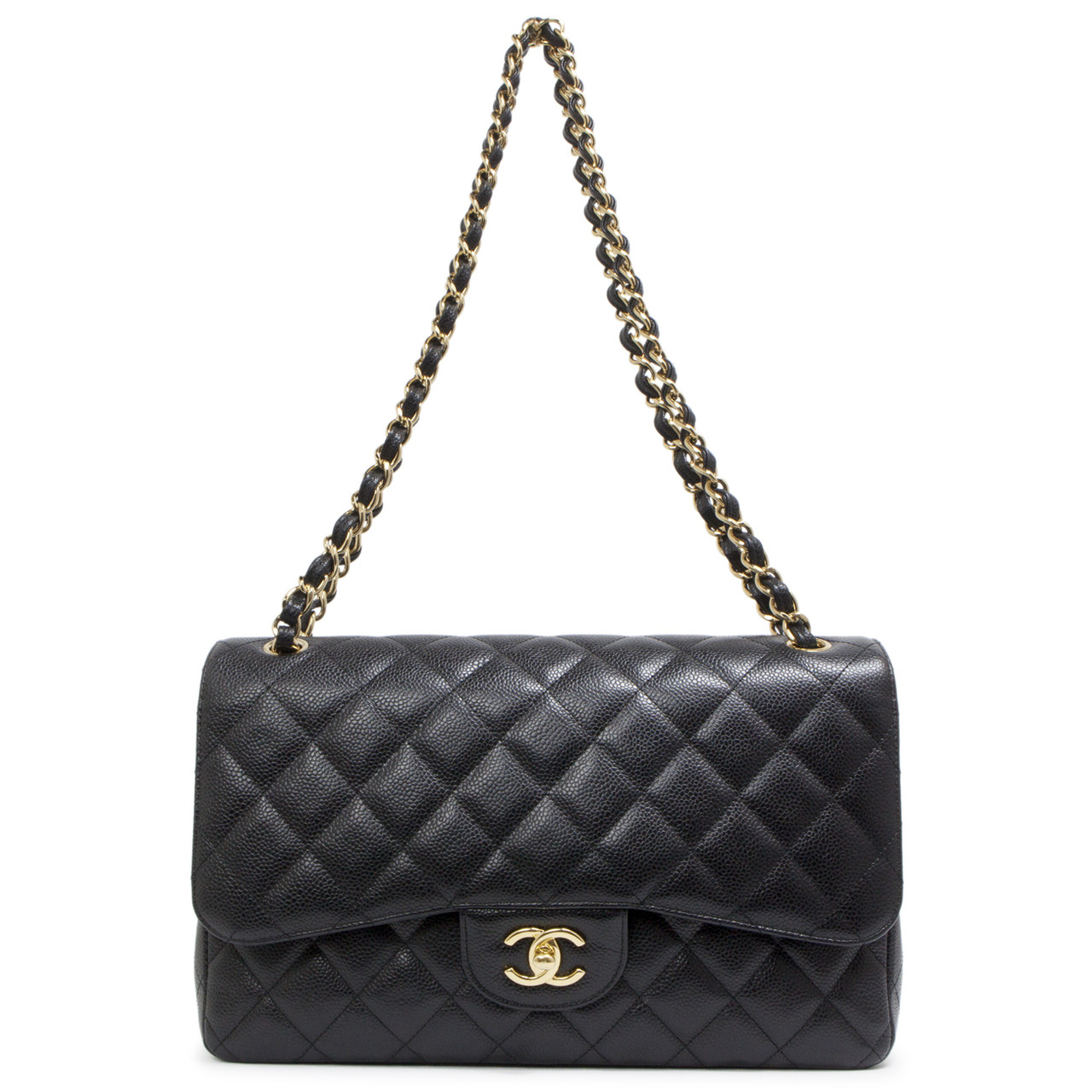 3f35096abc9d Chanel Black Quilted Caviar Jumbo Classic Double Flap - modaselle