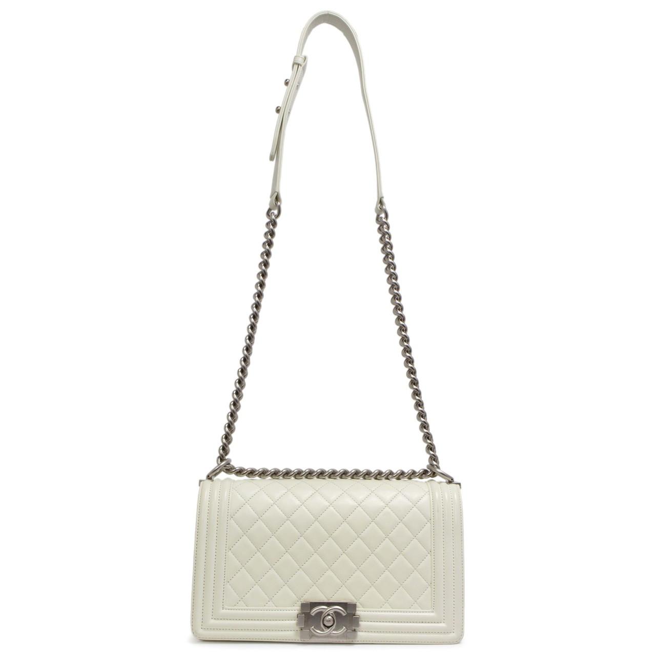 080c96959bb9 Chanel White Calfskin Medium Boy Bag - modaselle