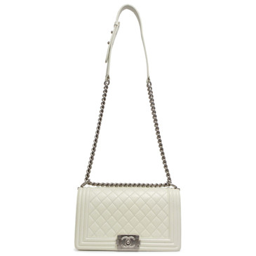 c8c96c67b39020 Chanel White Calfskin Medium Boy Bag