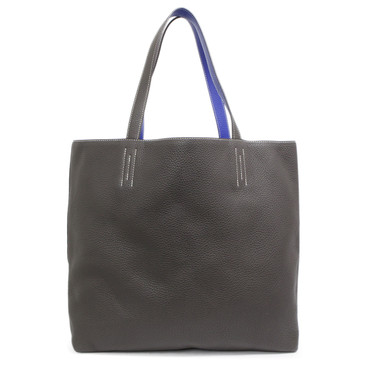Hermes Electric Blue & Graphite Clemence Leather Double Sens 45