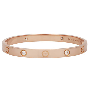 Cartier 18K Pink Gold & Diamond Love  Bracelet