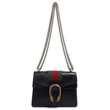 Gucci Black Calfskin Web Mini Dionysus Shoulder Bag