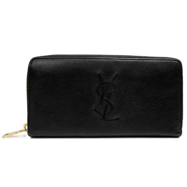 Yves Saint Laurent Black Monogram Zip Around Wallet