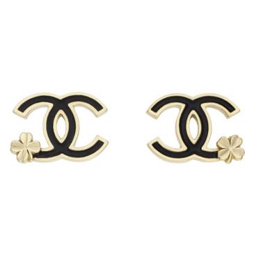 Chanel Black Enamel CC Clover Earrings