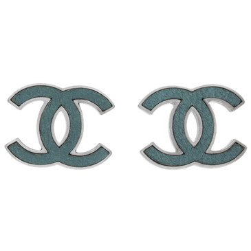 Chanel Teal CC Earrings
