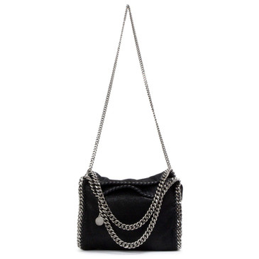 Stella McCartney Black Shaggy Deer Mini Falabella Fold Over Tote