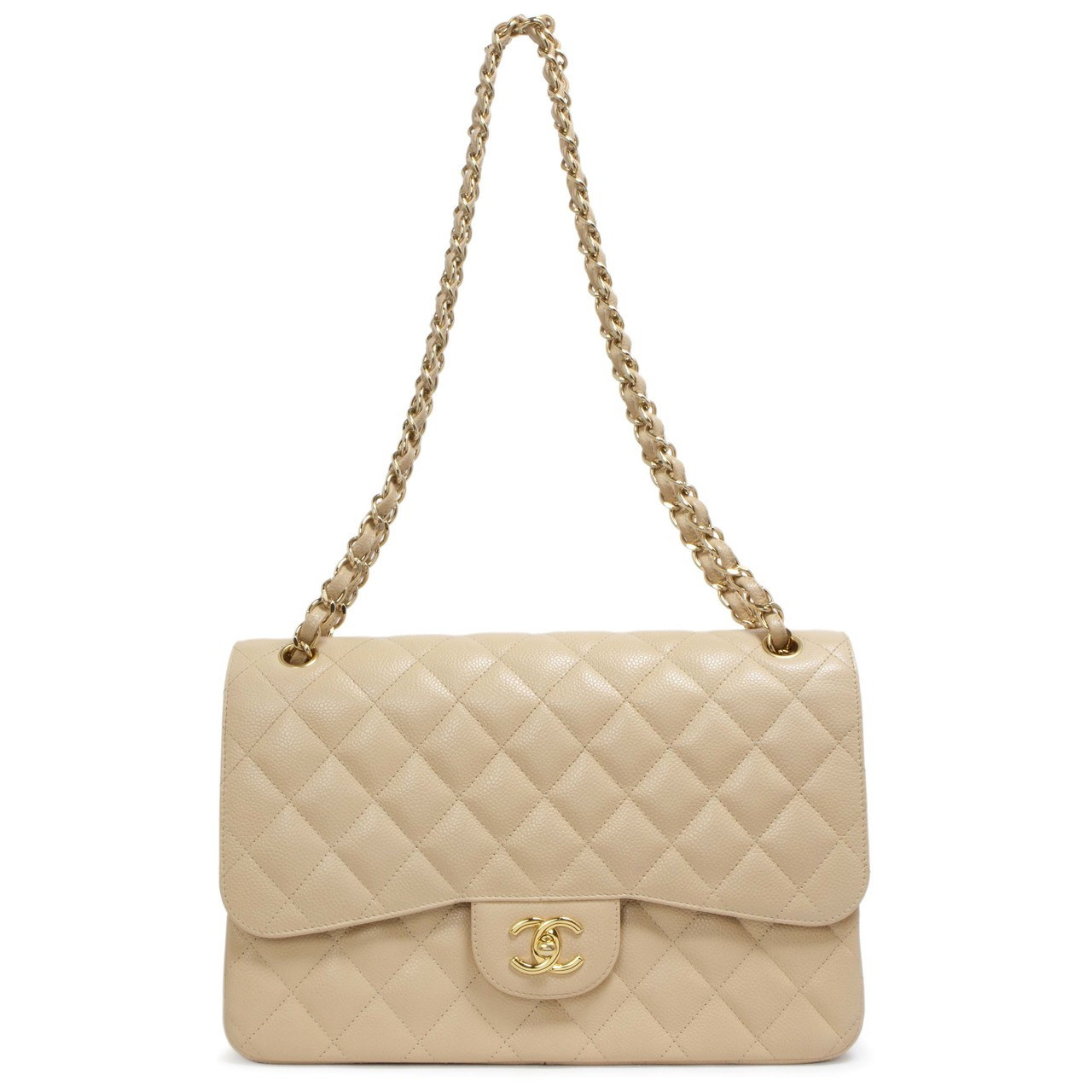 e6e9b7563a7f5f Chanel Beige Quilted Caviar Jumbo Classic Double Flap - modaselle