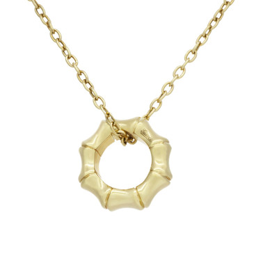Gucci 18K Yellow Gold Bamboo Pendant Necklace