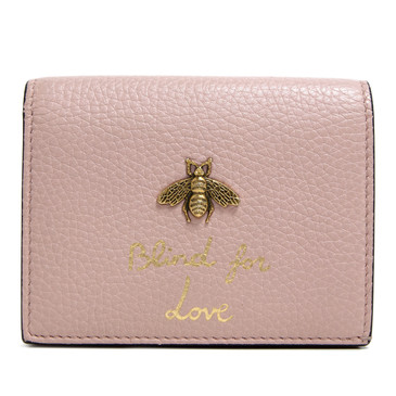 "Gucci Light Pink Animalier ""Blind for Love"" Card Case"