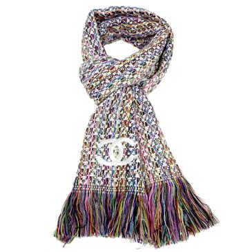 Chanel Multicolor Cashmere Fringe Scarf