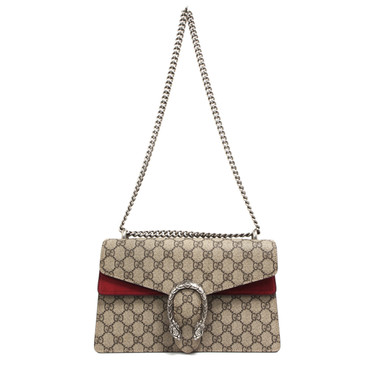 Gucci GG Supreme Monogram Canvas & Red Suede Small Dionysus Shoulder Bag