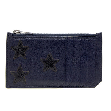 Saint Laurent Navy Calfskin Five Fragments Stars Zip Pouch Card Holder
