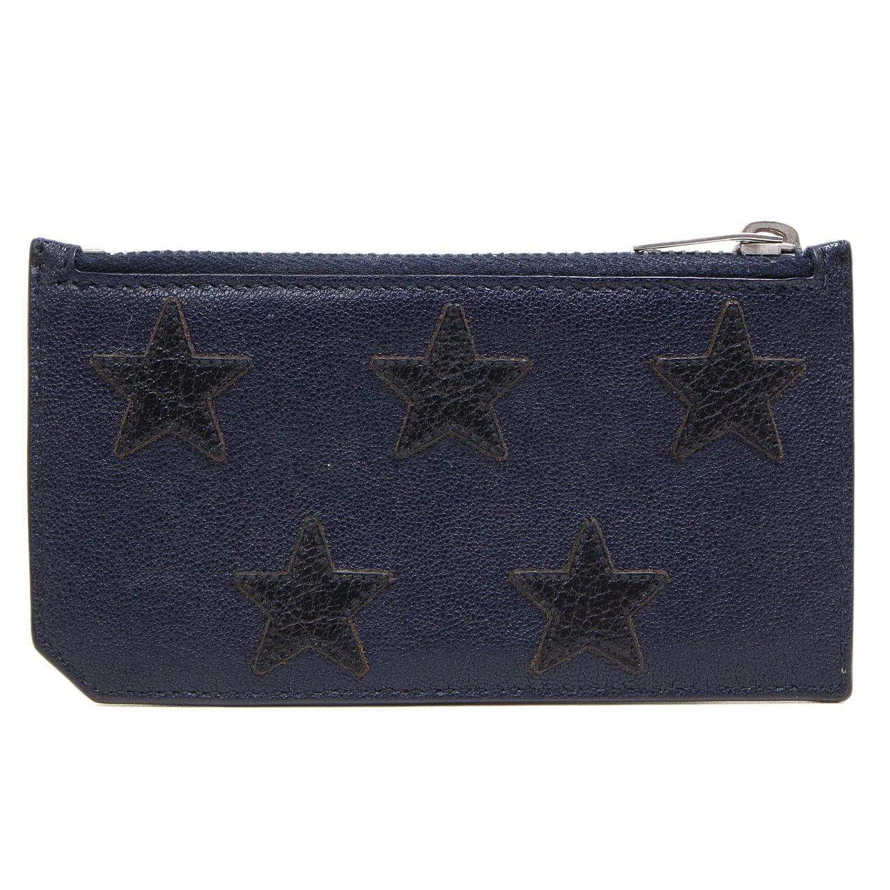detailed look e4e3a 0f584 Saint Laurent Navy Calfskin Five Fragments Stars Zip Pouch Card Holder
