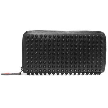 Christian Louboutin Black Panettone Spiked Zip Around Wallet