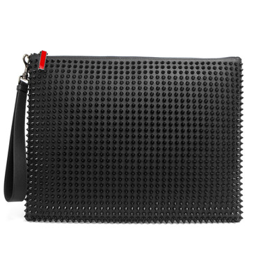 Christian Louboutin Black Spiked Medium Peter Pouch