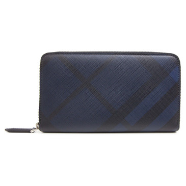 Burberry Navy and Black London Check Zip Around Wallet