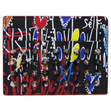 Christian Louboutin Black Multicolor Loubitag Kios Card Holder