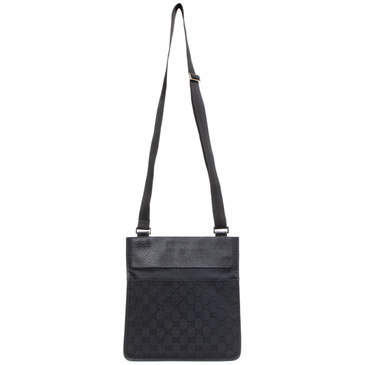Gucci GG Monogram Black Canvas Messenger Bag