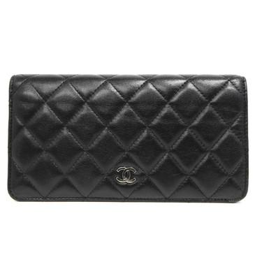 Chanel Black Quilted Lambskin Yen  Wallet