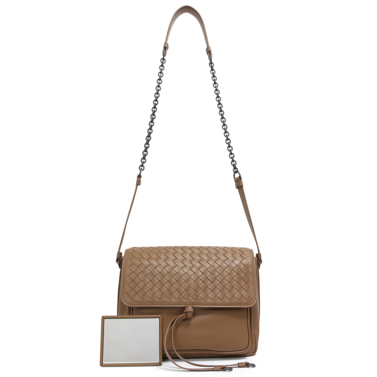 bc8566216423 Bottega Veneta Brown Intrecciato Tie Saddle Shoulder Bag - modaselle