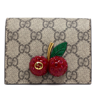 Gucci GG Supreme Monogram Cherry Card Case