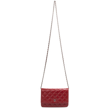 Chanel Red Lambskin Classic Wallet on Chain WOC