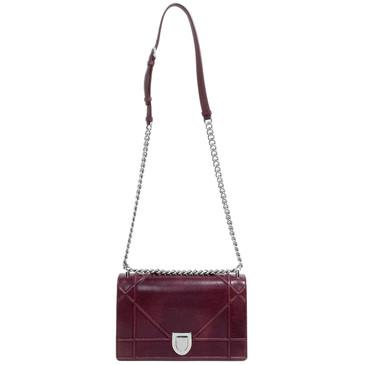 Christian Dior Burgundy Calfskin Medium Diorama Bag